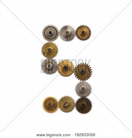Steampunk cogs gears mechanical design digit number 5. Vintage rusty shabby metal textured industrial figure 5. Retro technology machinery wheels connection concept. White background.
