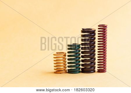 Iron spring set different hardness flexibility sizes. Colorful metallic spiral coil wires on yellow background.