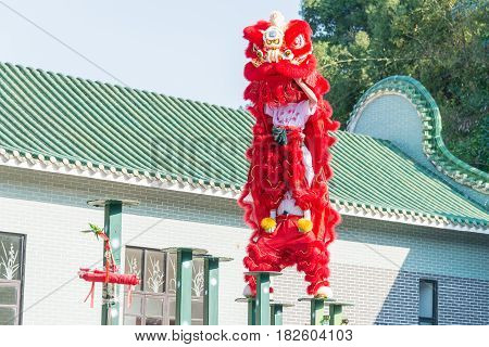 Gunagdong, China - Nov 27 2015: Lion Dance At Wong Fei Hung Lion Dance Martial Arts Museum. A Famous