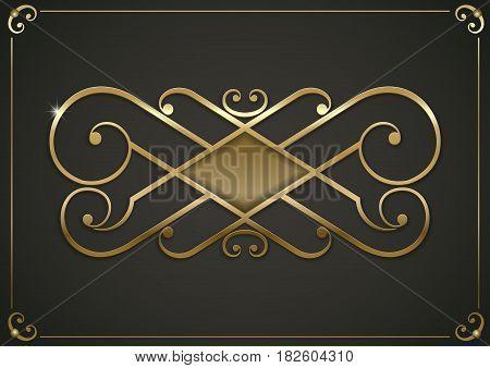 Vintage gold vignette or forged lattice interior decor. Vector graphics
