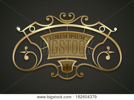 Vintage gold vignette or forged lattice interior decor. Vector graphics