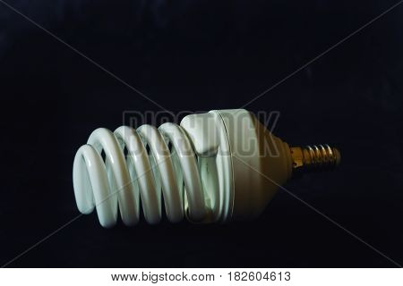 Spiral light bulb. Current designs of energy-saving light bulbs.
