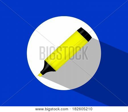 The yellow marker . icon with a yellow marker. Highlighter