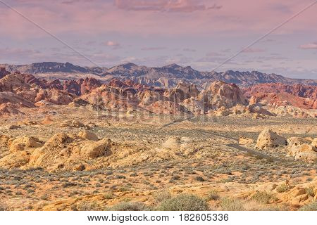 the scenic landscape of the valley of fire Nevada
