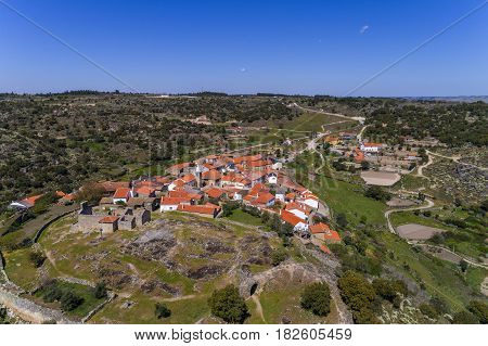 Aerial view of the historic village of Castelo Mendo in Portugal; Concept for travel in Portugal