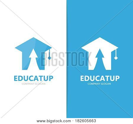 Vector of graduate hat and arrow up logo combination. Study and growth symbol or icon. Unique college and university logotype design template.