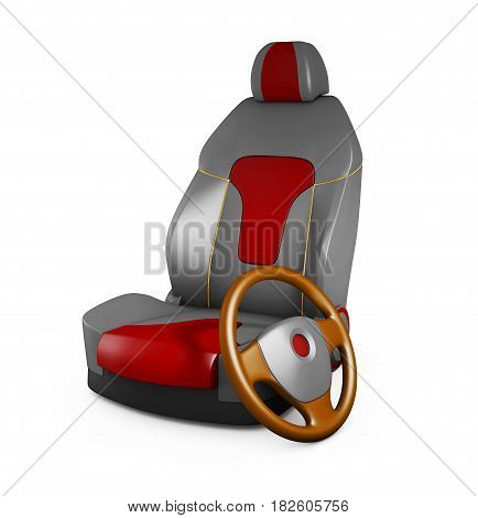 3D Illustration Gray Car Seat And Steering Wheel. Automobile Details