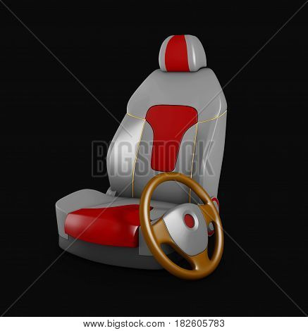 3D Illustration Gray Car Seat And Steering Wheel. Automobile Details, Isolated Black