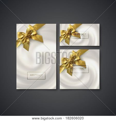 Business stationery set. Vector Illustration. Blending Whirlpool of Creamy Substance With Golden Bows. Diffusion texture. Decorative Element for Cosmetics Design