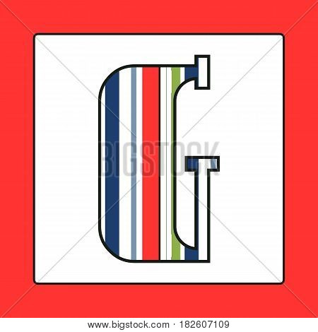 Striped colorful letter G isolated on white background. Elements for kids cards or alphabets in vintage or retro style.