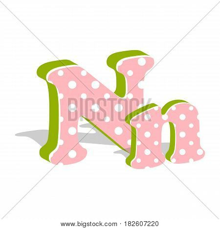 Capital and numeric cute dotted 3d letter N isolated on white background. Vector illustration. Element for design. Kids alphabet.