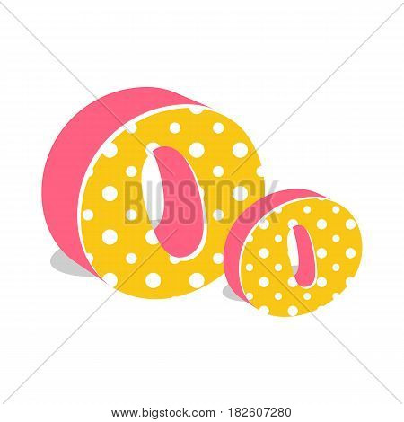 Capital and numeric cute dotted 3d letter O isolated on white background. Vector illustration. Element for design. Kids alphabet.