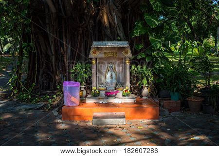 A religious altar for Buddhists standing in the park
