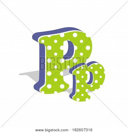 Capital and numeric cute dotted 3d letter P isolated on white background. Vector illustration. Element for design. Kids alphabet.