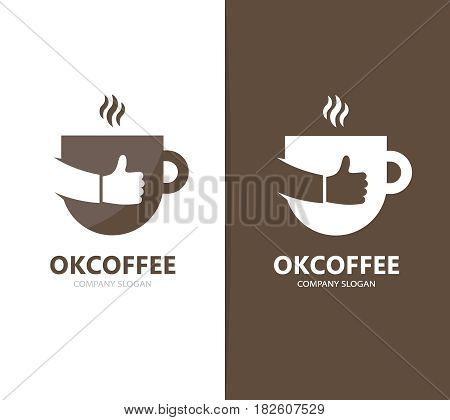 Vector of coffee and like logo combination. Drink and best symbol or icon. Unique cup and tea logotype design template.