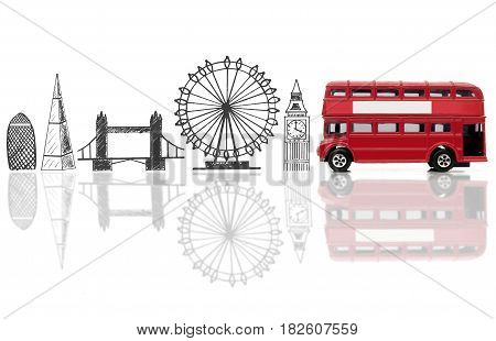London landmarks sketched against a double decker bus