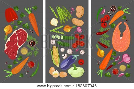 Three horizontal banners. Seafood, Vegetarian and Meat for your design. Vector illustration eps 10