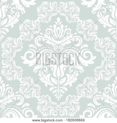 Seamless classic light blue and white pattern. Traditional orient ornament