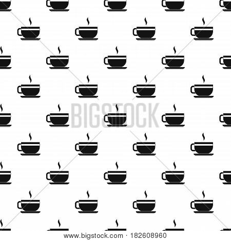 Tea cup and saucer pattern seamless in simple style vector illustration