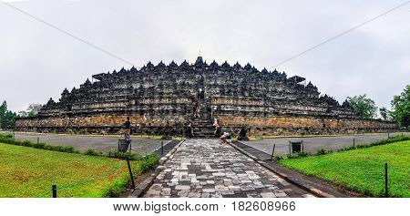 BOROBUDUR, INDONESIA - OCTOBER 17, 2012: View of the Buddhist temple in Borobudur on Java Island Indonesia