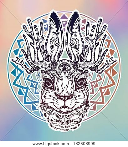 Three eyed Jacalope magical creature portrait, horned rabbit in American folklore. For tattoo or t-shirt. Fantasy card or poster idea. Ethnic, mystic tribal boho symbol. Isolated vector illustration
