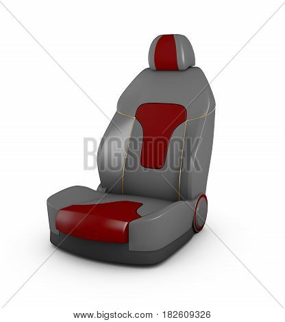 3D Illustration Gray Car Seat. Automobile Details, Isolated White