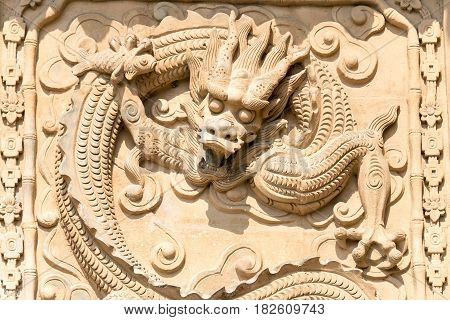 Shanxi, China -  Aug 23 2015: Relief At Emperor Shun Tomb Soenic Spot. A Famous Historic Site In Yun
