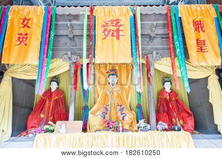 Shanxi, China -  Aug 23 2015: Emperor Shun Statues At Emperor Shun Tomb Soenic Spot. A Famous Histor