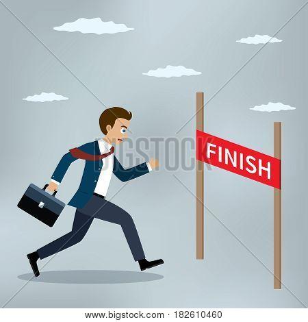 Businessman running at the finish line. Vector illustration