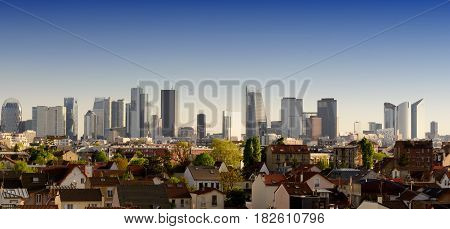 panorama of business district La Defense in Paris France