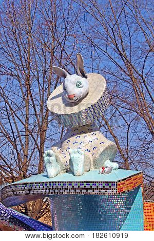 KYIV, UKRAINE - MARCH 18, 2012: The children's Alice in Wonderland playground in Picturesque Alley by sculptor Konstantin Skretutskiy