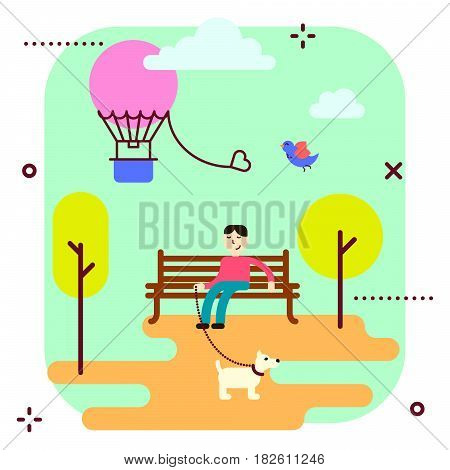 Amusement park promenade vector illustration. Man and dog on the bench, air balloon in the sky.