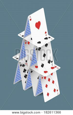 Isometric vector house of play cards isolated on grey background.