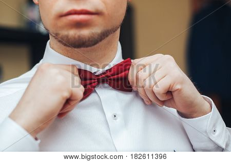 Male groom in a wedding suit holding hands butterfly