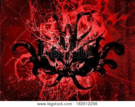 Dark poster design with tribal mask against fire background in saturated red colors
