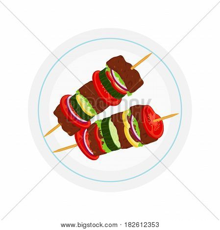 Kebabs on plate, roasted meat - lamb, pork. Tomato, cucumber, pepper, onion, salad. Made in cartoon flat style.