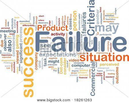 Background concept wordcloud illustration of failure