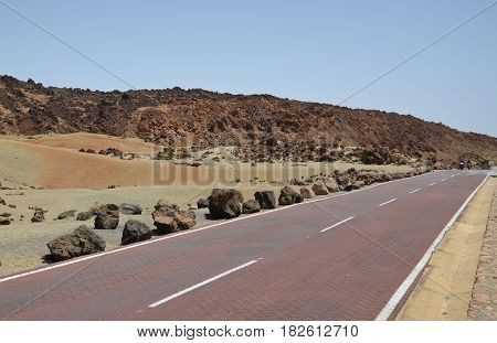 Mountain road in Teide National Park in Tenerife,Canary Islands,Spain.