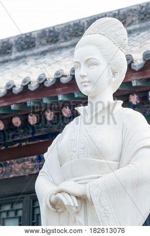 SHANXI, CHINA -  Aug 30 2015: Susan Statue at Susan Prison. a famous historic site in Hongdong, Shanxi, China.
