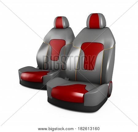 Gray And Red Car Seats. Automobile Details. Isolated White