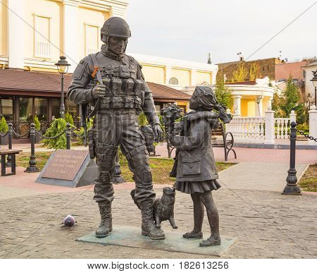 The bronze monument to Polite people in the Crimean capital Simferopol was opened on June 11, 2014. Sculptor Shcherbakov. Crimea, Simferopol. April 5, 2017