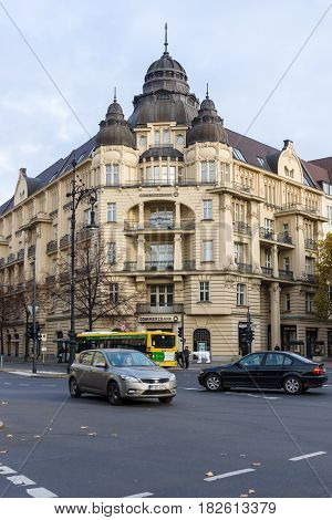 BERLIN - NOVEMBER 09 2016: The historic building on Kurfurstendamm. Commerzbank Office. Commerzbank AG is a global banking and financial services company founded in 1870.