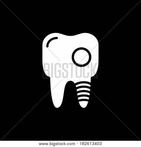 Tooth caries vector line icon isolated on black background. Tooth canal destroyed line icon for infographic, website or app. Eps 10