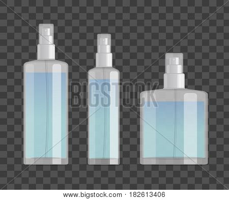 cosmetic spray bottles set isolated on checkered background. Small, big and wide bottles. Realistic vector design