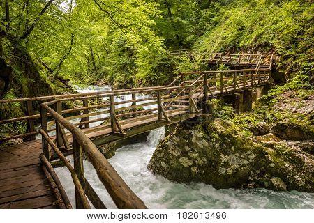 Wooden bridge across the mountain river in Vintgar Gorge, Lake Bled natural park, Slovenia