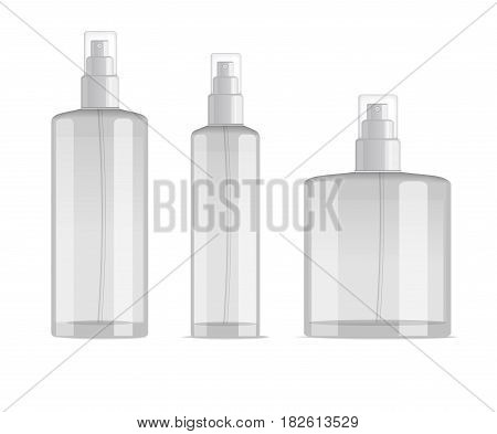 cosmetic spray bottles set isolated on white background. Small, big and wide bottles. Realistic vector design