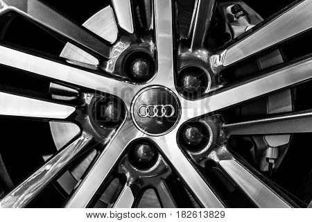 BERLIN - NOVEMBER 09 2016: Showroom. Wheels and brake parts of compact luxury crossover SUV Audi Q5 sport 2.0 TDI quattro S tronic. Produced since 2016.