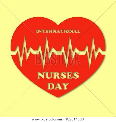 International nurses day illustration with red heart and heartbeat on yellow background. Card or design for doctors, nurses and medicine