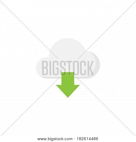 Cloud download flat icon, web mobile application, download button, a colorful solid pattern on a white background, eps 10.