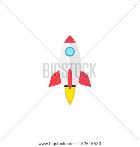 Start up flat icon, seo and development, Rocket sign, a colorful solid pattern on a white background, eps 10.